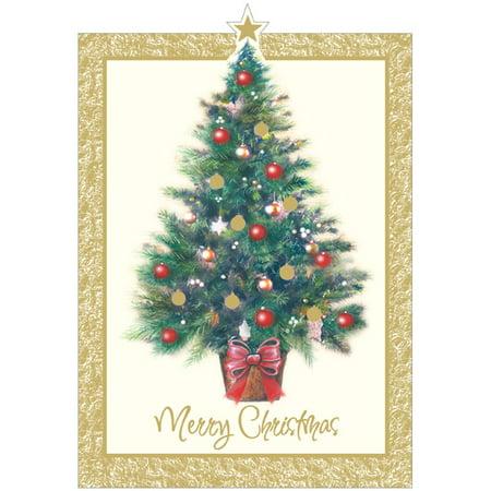 Designer Greetings Decorated Tree Die Cut Star Box of 18 Christmas Cards