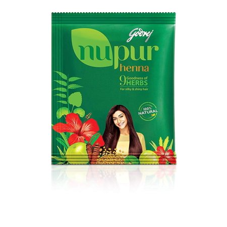 Nupur Henna Powder Natural Mehndi for Hair Color with Goodness of 9 Herbs- 400gram X Pack of 2, Brand New Genuine Godrej Product in Export Packaging. By (Best Henna Cone Brand)