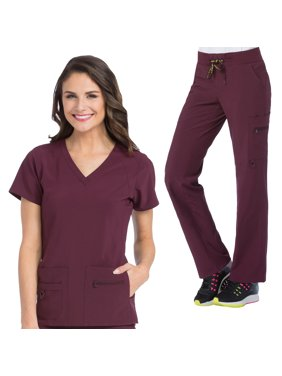Med Couture Activate Women's V-Neck Racerback Scrub Top & Yoga 1 Cargo Pocket Scrub Pant Set [XS - 3XL, FREE SHIPPING]