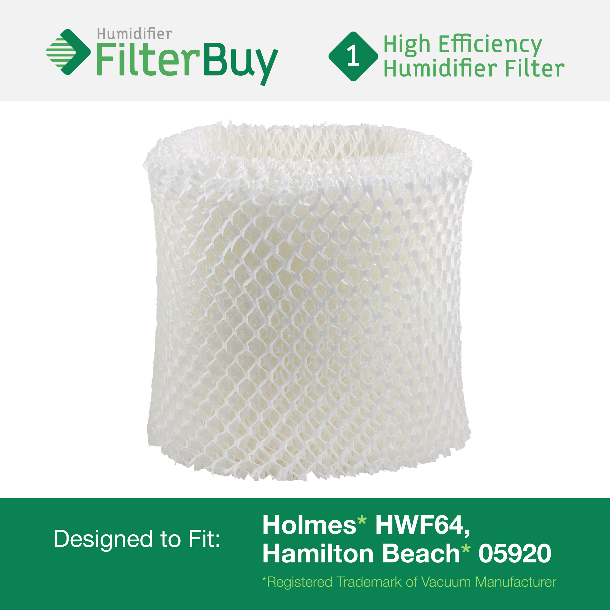 HWF64 Holmes Humidifier Replacement Filter. Fits Holmes humidifier models HM1645, HM1730, HM1745, HM1746, HM1750, HM2220, and HM2200. Designed by AFB in the USA