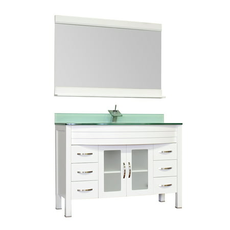 "Image of Elite 48"" Single Modern Bathroom Vanity in White, Base Vanity"
