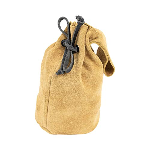 Mythrojan Suede Leather Drawstring Belt Pouch Renaissance Costume Accessories Medieval Suede Jewelry Pouch DnD Dice bag Pirate Hip Pouch Larp Waist Bag Cosplay Coin Purse Pouch Bag