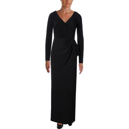 Lauren Ralph Womens Hectora Mixed Media Cascade Ruffle Evening Dress