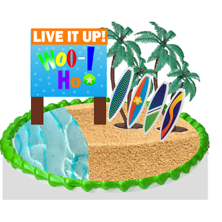 Live it Up Whoo Hoo SurfBoards Cake Decoration Topper - Surfboard Decoration