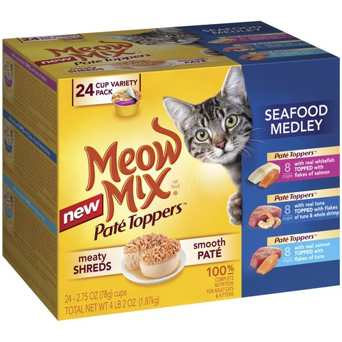 Meow Mix Pate Toppers Seafood Medley Wet Cat Food Variety Pack, 2.75-Ounce Cups (Pack of 24)