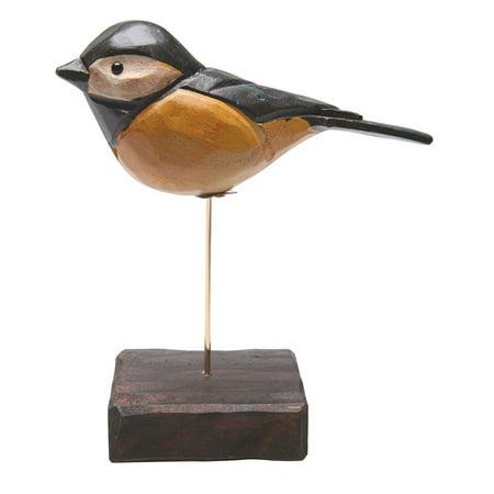 Handmade folk art wooden bird figurine chickadee - Chickadee figurine ...