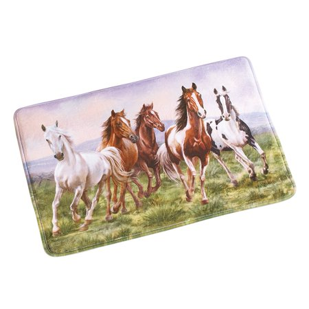 Western Galloping Horse Cushioned Bath Mat with Skid Resistant Backing