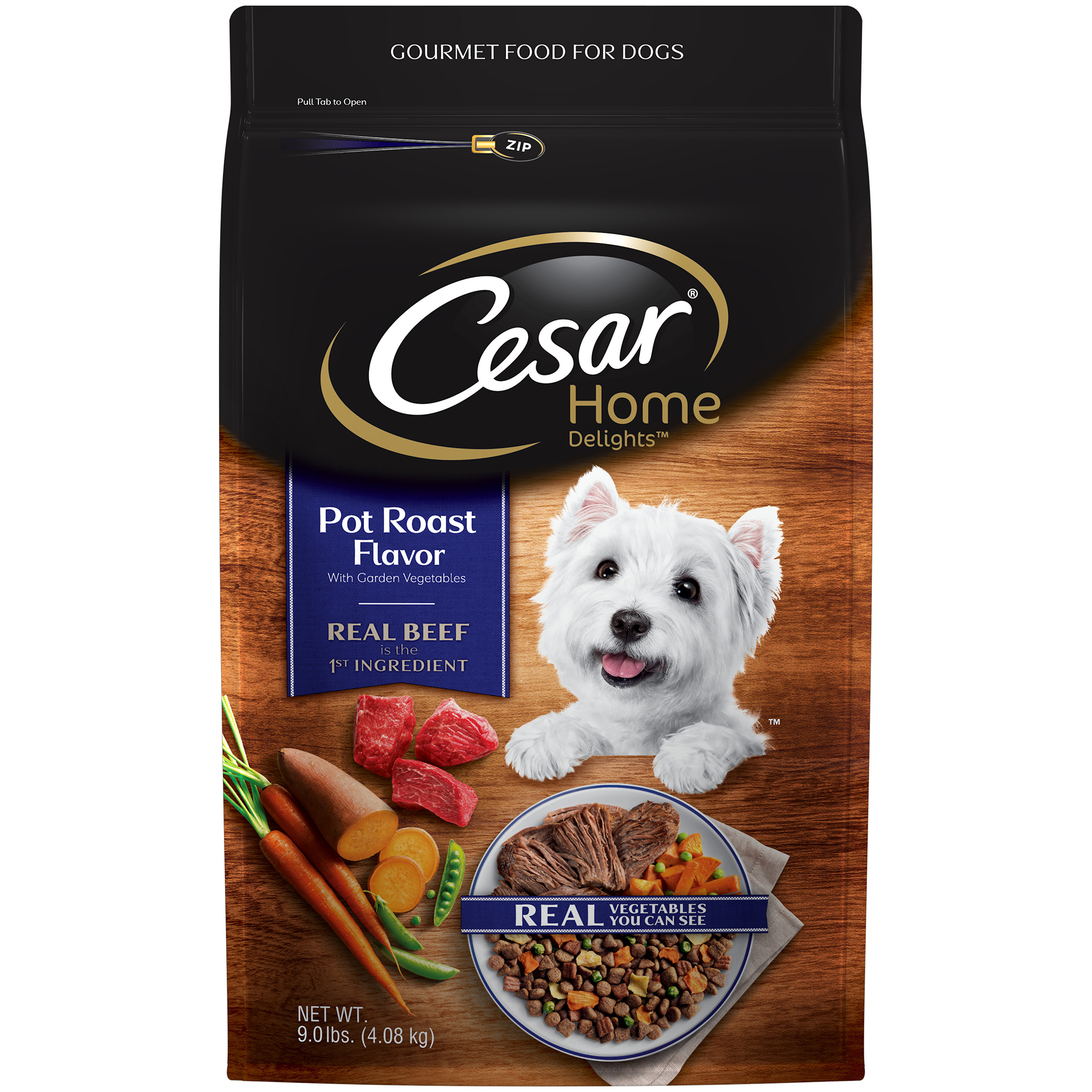 Cesar Home Delights Dry Dog Food Pot Roast Flavor with Garden Vegetables, 9 lb. Bag