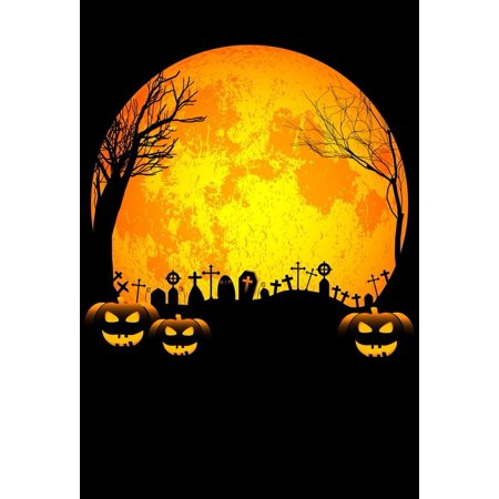 GreenDecor Polyster 5x7ft Spooky Halloween Scary Graves Pumpkins Tree Silhouette Full Moon Photography Backdrops Indoor Studio Backgrounds Photo Props