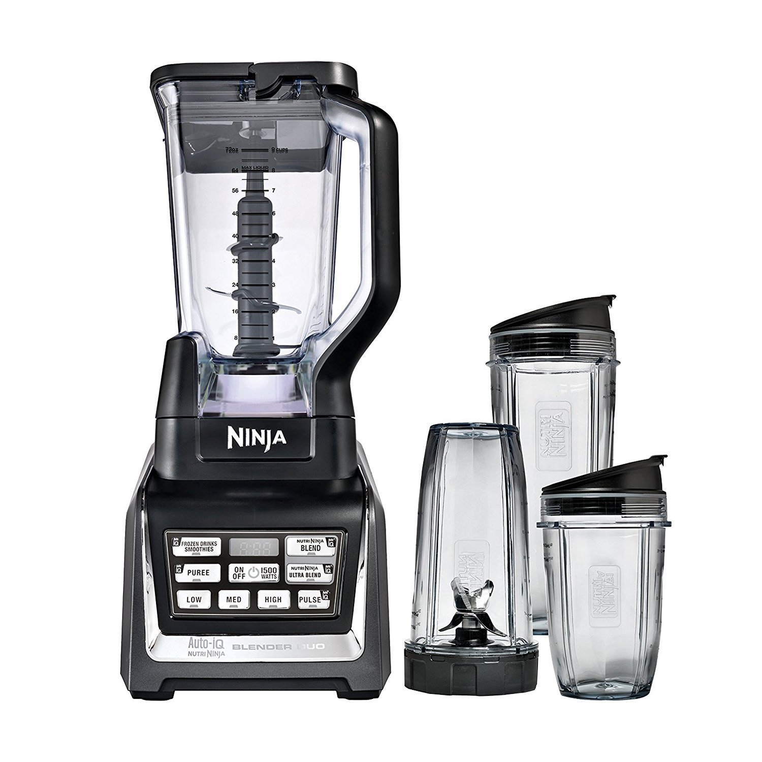 Nutri Ninja 1500W 72 Ounce Ninja Blender Duo with Auto-iQ and Cups | BL642W