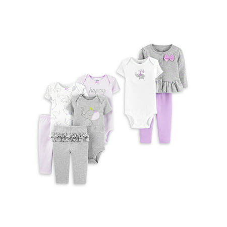 Child of Mine by Carter's Baby Girl Short Sleeve Bodysuits, Pants & Outfit Baby Shower Layette Gift Set, 8-Piece