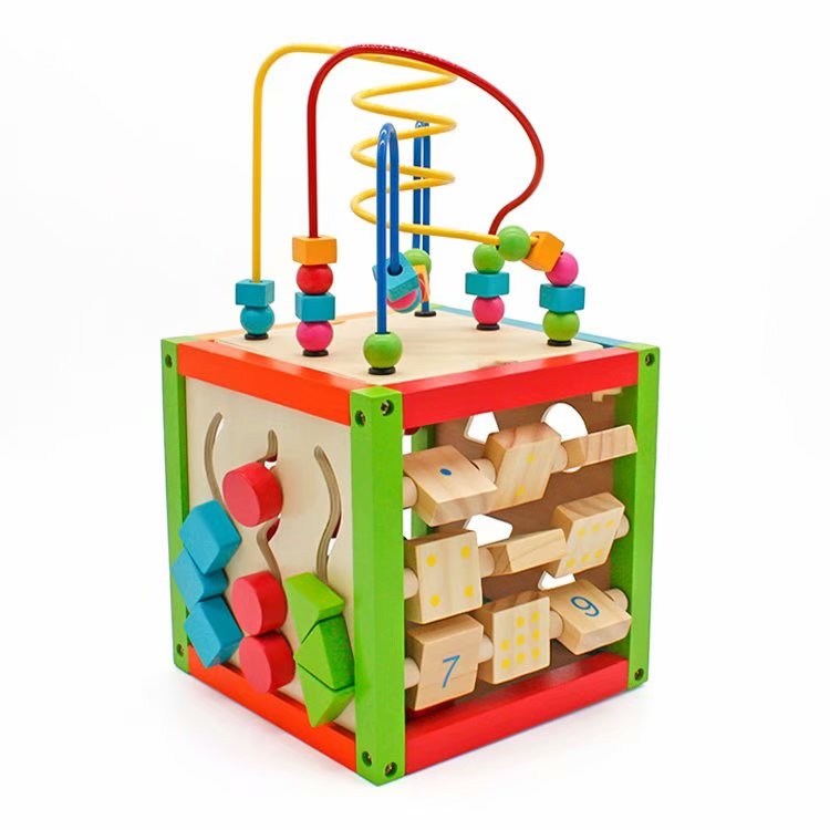 Lovely 5 In 1 Activity Cube Real Wood Toys For 12 Months Babys Kids Boys Girls
