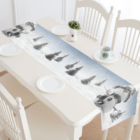 MYPOP Christmas Snowman Snowflake Table Runner Home Decor 14x72 Inch, Winter Pine Tree Table Cloth Runner for Wedding Party Banquet Decoration