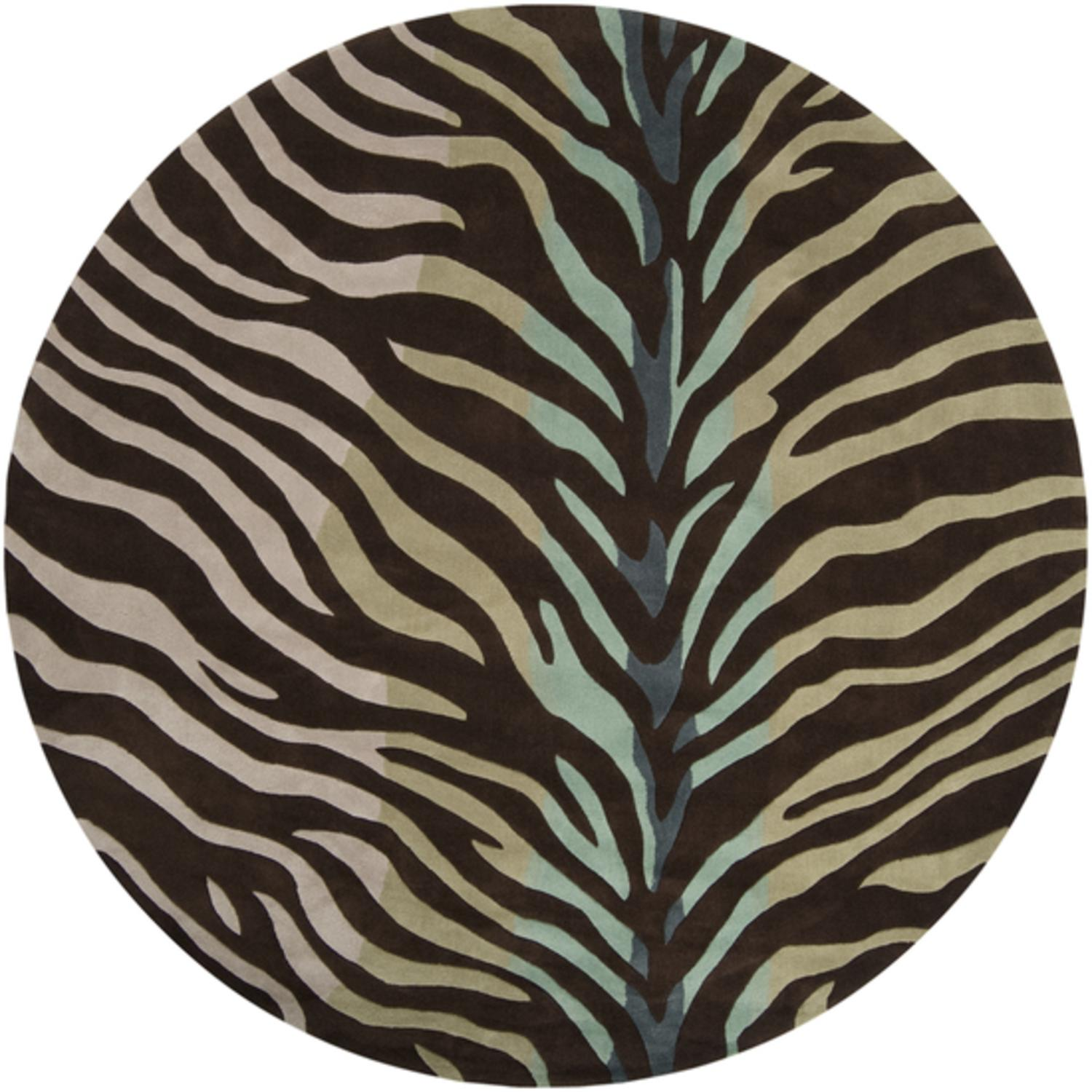 8'  Zebra Chocolate, Sand and Jade Hand Tufted Round Polyester Area Throw Rug