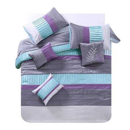 Marcielo 7 Piece Luxury King Comforter Set Teal Purple