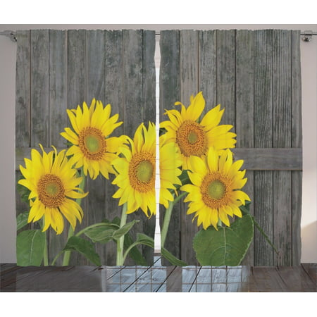 Sunflower Decor Curtains 2 Panels Set, Helianthus Sunflowers Against Weathered Aged Fence Summer Garden Photo Print, Living Room Bedroom Accessories, By Ambesonne (Sunflower 5 Panel)