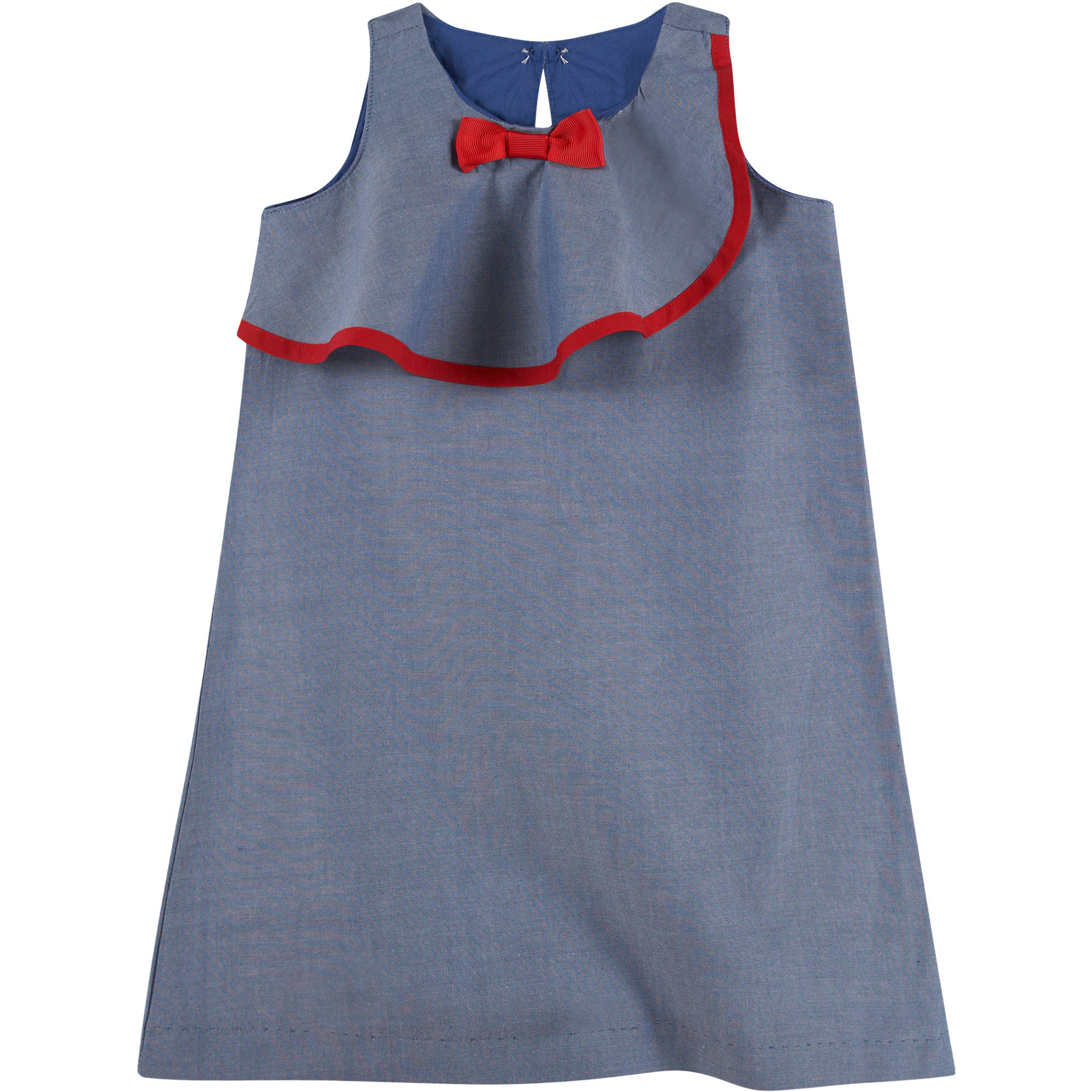 G-Cutee Girls' Chambray Ruffle Detail Dress