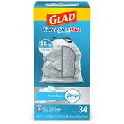 Glad Tall Kitchen Trash Bags, 13 Gallon, 34 Bags (ForceFlexPlus, Fresh Clean)