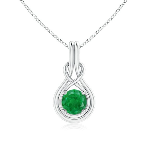 b225879a63cab Mother's Day Jewelry - Round Emerald Solitaire Infinity Knot Pendant in  Platinum (7mm Emerald) - SP0566E-PT-AA-7
