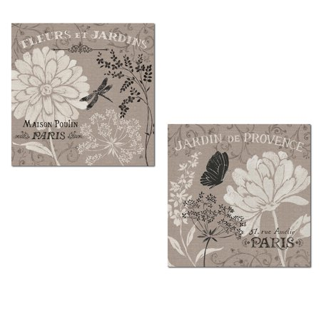 French Linen Garden | Beautiful Blooming Paris Flowers, Butterfly and Dragonfly Poster Set by Daphne Brissonnet; Floral Decor; Two 12x12in Poster Prints