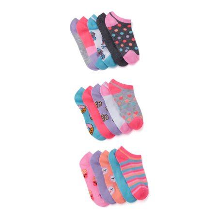 Wonder Nation Girls' Print No Show Socks, 15-Pair Pack