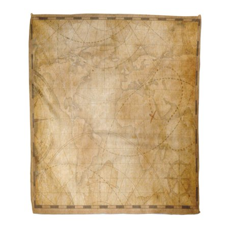 ASHLEIGH Flannel Throw Blanket Brown Vintage Old World Map Treasure Nautical Pirate Ancient Travel 50x60 Inch Lightweight Cozy Plush Fluffy Warm Fuzzy Soft ()