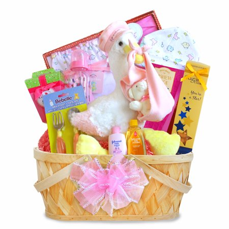 (A California Delicious Special Stork Delivery Baby Girl Baby Gift Basket)