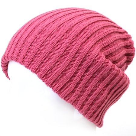 ililily Stretch-fit Ribbed Knit Beanie Skull Winter Hat Sports Running Beanies, Pink