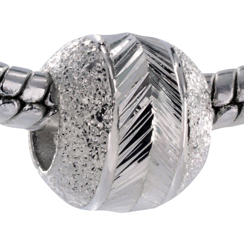 Pacific Charms Silver-Tone Crystal Bead, Sparkling Laser-Cut Bead