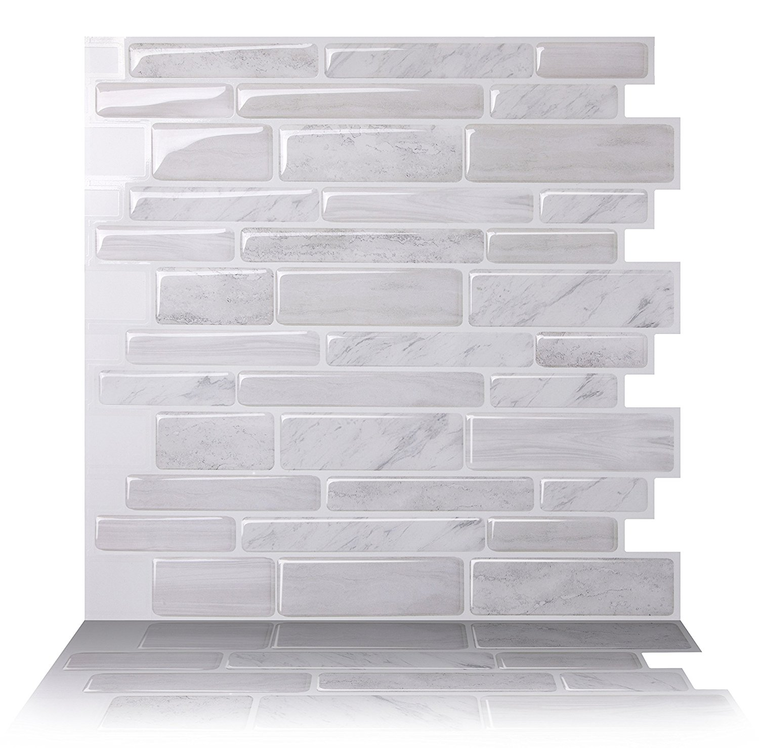 Tic Tac Tiles - Premium Anti Mold Peel and Stick Wall Tile Backsplash in Polito White
