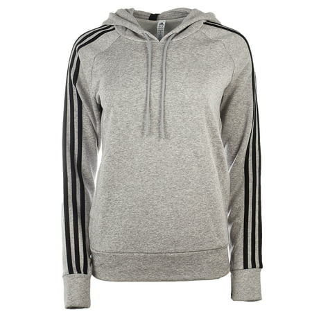 - Adidas Essential Cotton Fleece 3 Stripe Pullover Hoody - Medium Grey Heather/Black - Womens - XL