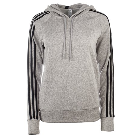 Adidas Essential Cotton Fleece 3 Stripe Pullover Hoody - Medium Grey Heather/Black - Womens - XL