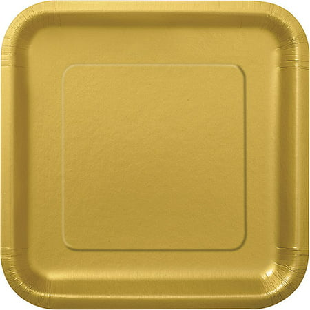 Square Paper Plates, 7 in, Gold, 16ct - Disco Plates