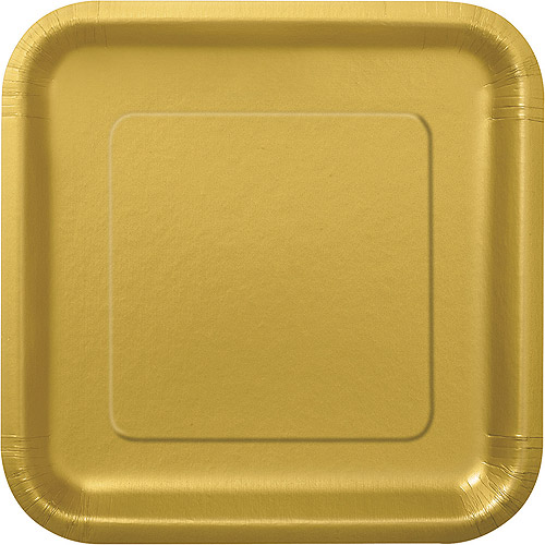 Square Paper Plates, 7 in, Gold, 16ct