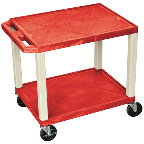 H. Wilson Tuffy 2-Shelf A/V Cart with Electric, Red Shelves and Putty Legs