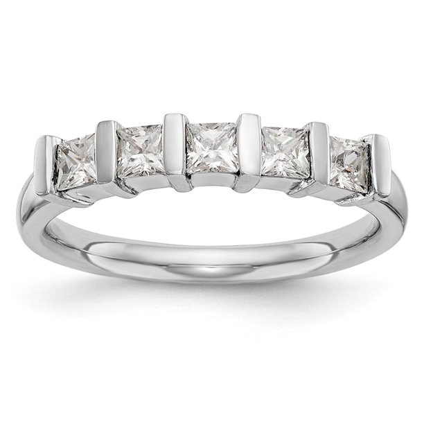 14K White Gold Ring Band Wedding Diamond Square 5-Stone , Size 5