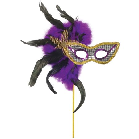 Loftus Masquerade Sequin and Feather Mask, Purple Black Gold, One-Size - Purple Masquerade Masks For Women