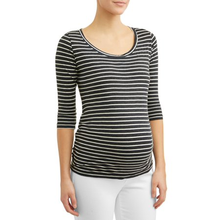 Maternity 3/4 Sleeve Side Ruched Stripe Tee