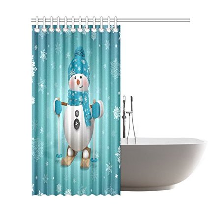GCKG Skling Snowman Shower Curtain, Christmas Cartoon Character Polyester Fabric Shower Curtain Bathroom Sets with Hooks 66x72 Inches - image 2 of 3