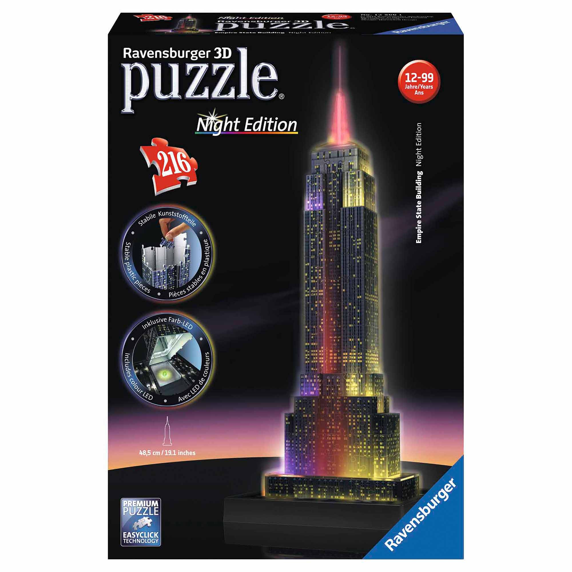 Empire State Building 3D Puzzle, Night Edition, 216 Pieces