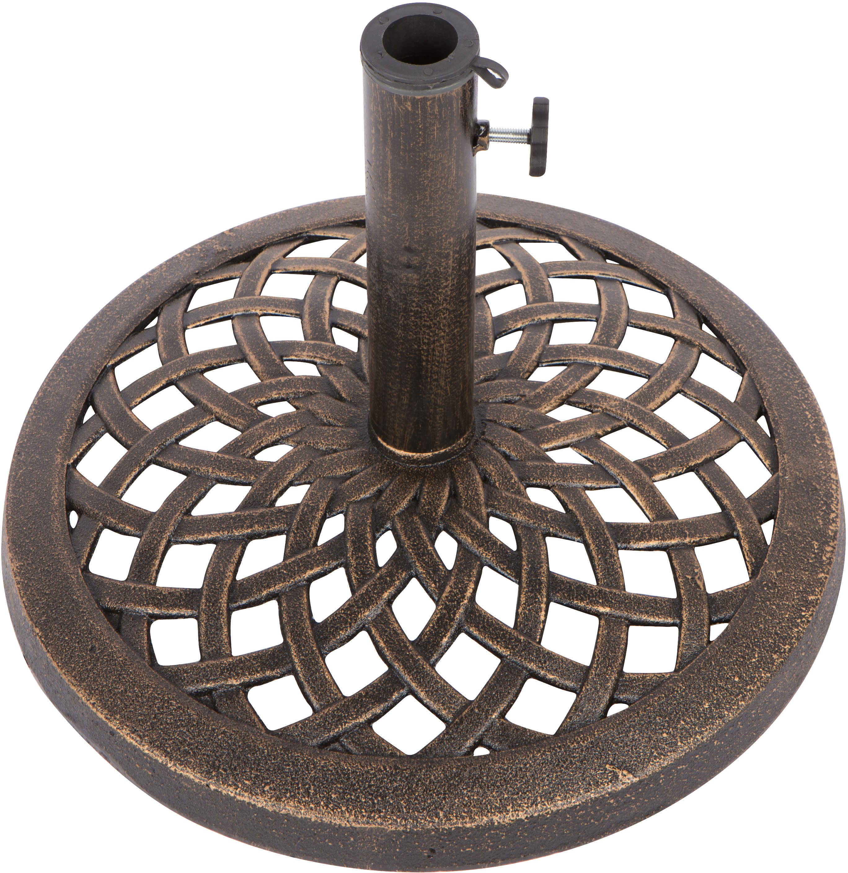 Cast Iron Umbrella Base - 17.7 Inch Diameter by Trademark Innovations (Black Finish)