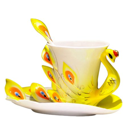Hand Crafted Porcelain Enamel Delicate Peacock Tea Coffee Cup Set with Saucer and Spoon - Yellow