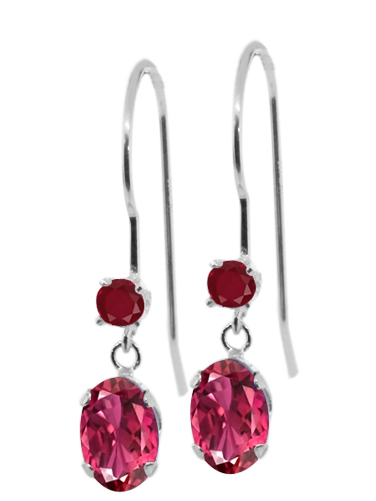 1.24 Ct Oval Pink Tourmaline Red Ruby 14K White Gold Earrings by