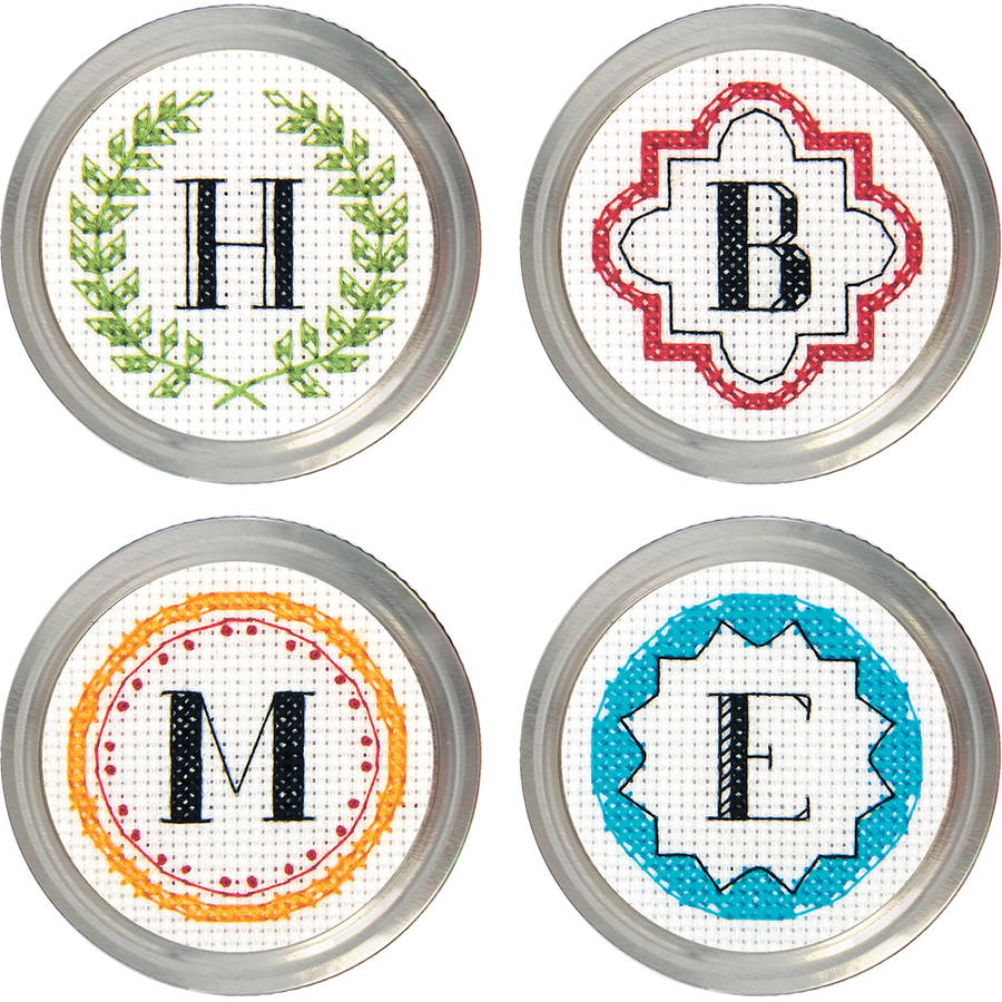Monogram Jar Topper Counted Cross-Stitch Kit, Set of 4