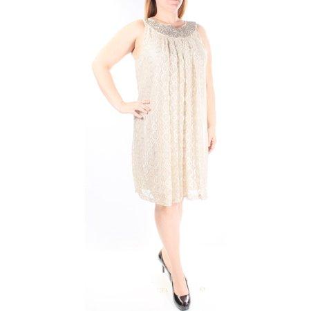 ALFANI Womens Gold Rhinestone LACE OVERLAY Polka Dot Sleeveless Scoop Neck Knee Length Shift Dress  Size: