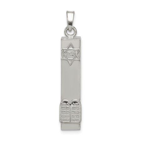Mireval Sterling SIlver 3D Mezuzah with Star and Ten Commandments Pendant (approximately 30 x 7 mm) Sterling Silver Mezuzah Pendant