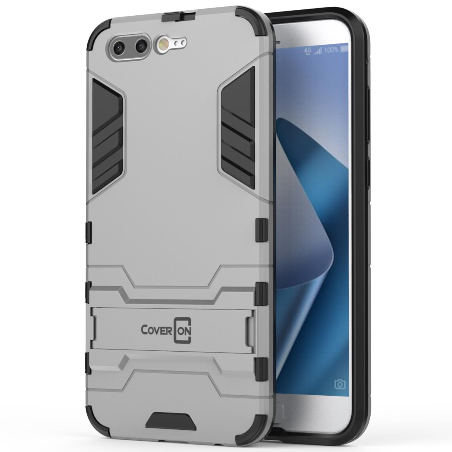 Hyun Black Tyre Pattern Design Heavy Duty Hard Extreme Protection Case with Kickstand Shock Absorbing Detachable 2 in 1 Case Cover for ASUS ZenFone 4 ZE554KL ZenFone 4 ZE554KL Case