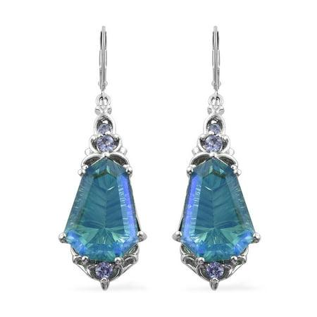 925 Sterling Silver Platinum Plated Peacock Quartz Tanzanite Earrings for Women