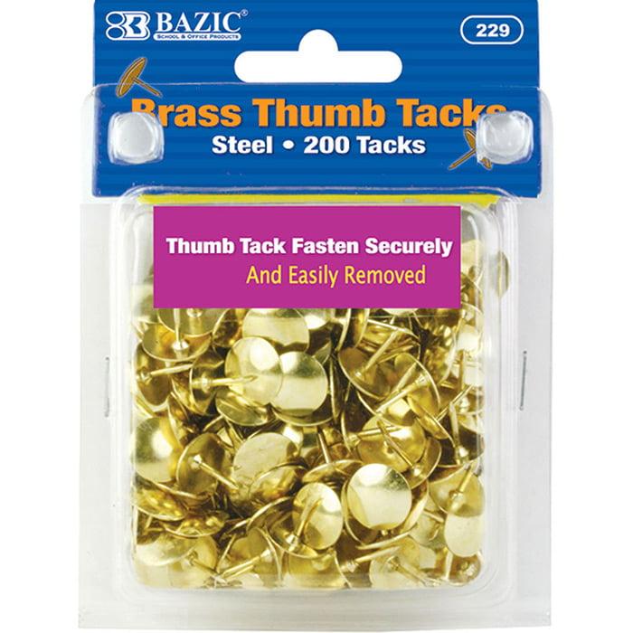 BAZIC Brass (Gold) Thumb Tack (200/Pack), Box of 24
