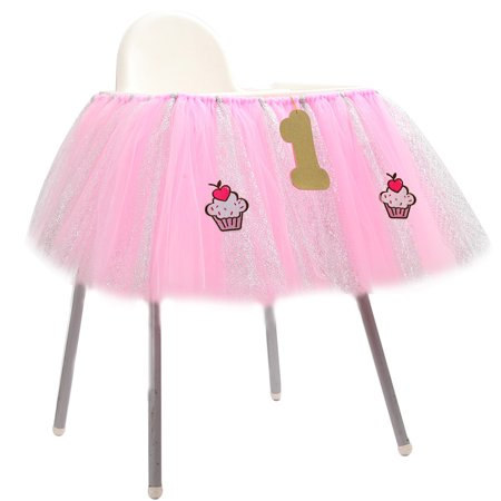 1st Birthday Baby pink Tutu Skirt for High Chair Decoration for Party Supplies - Baby Girl First Birthday Party Supplies